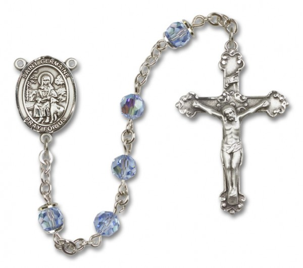 St. Germaine Cousin Sterling Silver Heirloom Rosary Fancy Crucifix - Light Sapphire