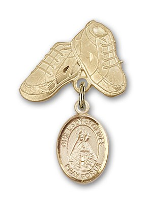 Baby Badge with Our Lady of Olives Charm and Baby Boots Pin - 14K Solid Gold