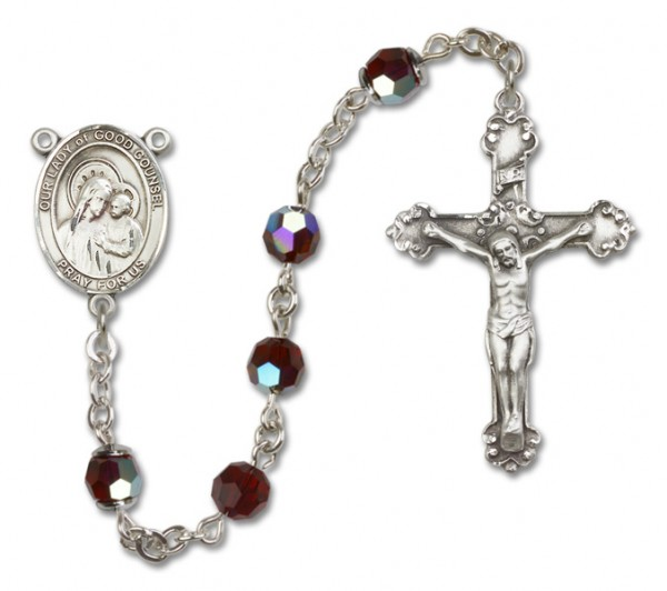 Our Lady of Good Counsel Sterling Silver Heirloom Rosary Fancy Crucifix - Garnet