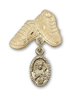 Baby Badge with Our Lady of Czestochowa Charm and Baby Boots Pin - 14K Solid Gold