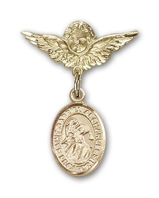 Pin Badge with St. Gabriel the Archangel Charm and Angel with Smaller Wings Badge Pin - Gold Tone