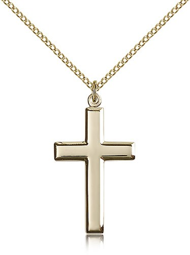 Women's High Polish Classic Cross Medal - 14KT Gold Filled