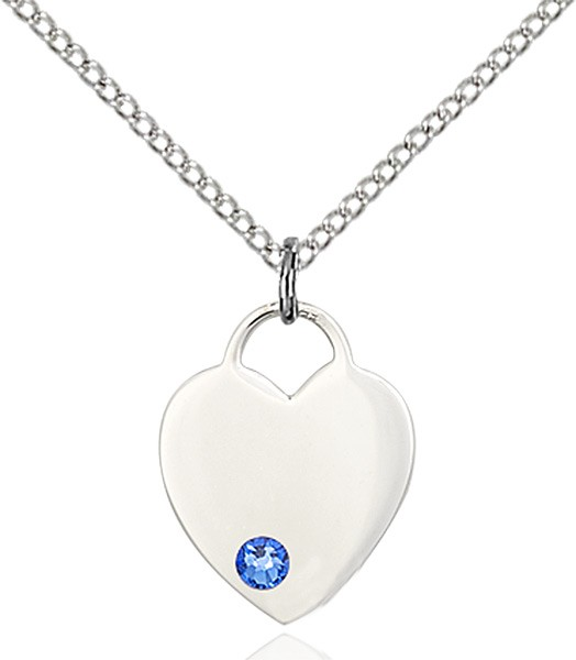 Small Heart Shaped Pendant with Birthstone Options - Sapphire