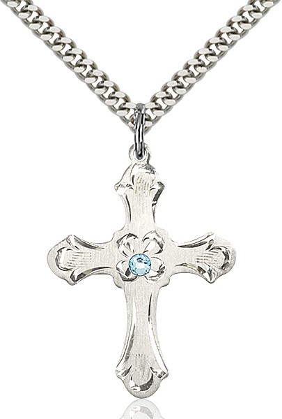 Budded Cross Pendant with Etched Border Birthstone Options - Aqua