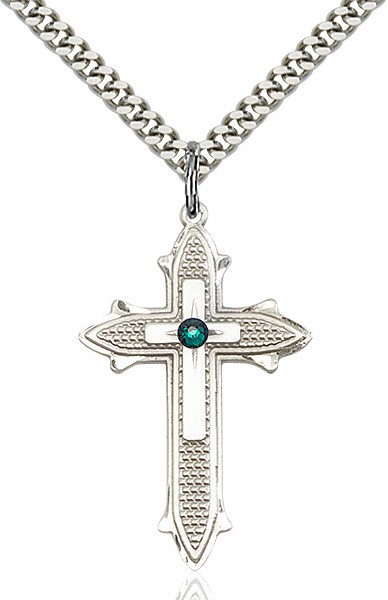 Large Women's Polished and Textured Cross Pendant with Birthstone Option - Emerald Green