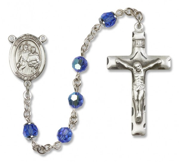 St. Raphael the Archangel Sterling Silver Heirloom Rosary Squared Crucifix - Sapphire