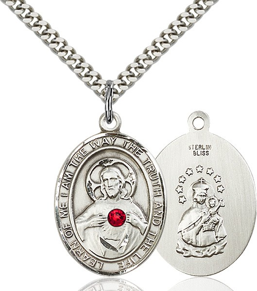 Men's Oval Sacred Heart Pendant with Birthstone Options - Sterling Silver