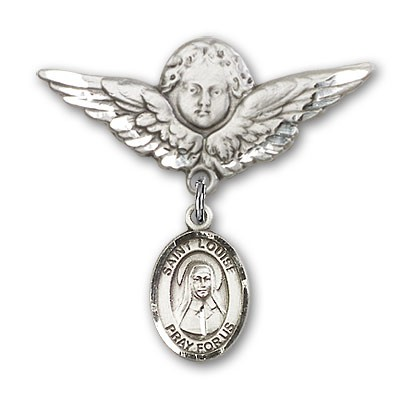 Pin Badge with St. Louise de Marillac Charm and Angel with Larger Wings Badge Pin - Silver tone