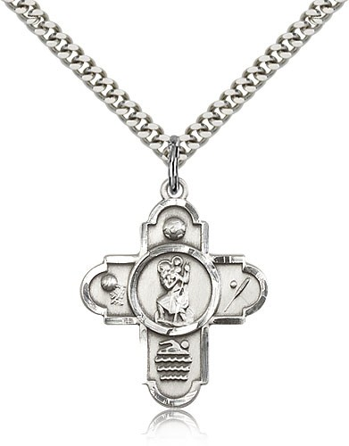 St. Christopher Sports 5-Way Medal - Sterling Silver