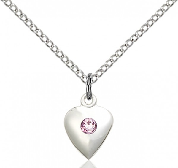 Baby Heart Pendant with Birthstone Options - Light Amethyst
