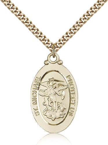 Oval Double-sided St. Michael Guardian Medal - 14KT Gold Filled