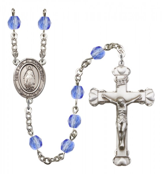 Women's Our Lady of Good Help Birthstone Rosary - Sapphire
