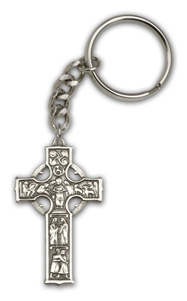 Celtic Cross Keychain - Antique Silver