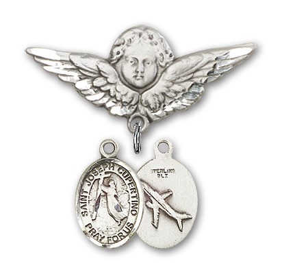Pin Badge with St. Joseph of Cupertino Charm and Angel with Larger Wings Badge Pin - Silver tone