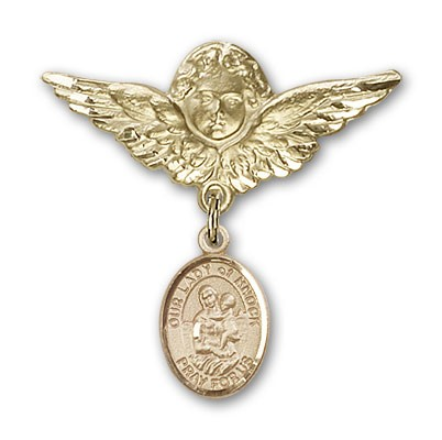 Pin Badge with Our Lady of Knock Charm and Angel with Larger Wings Badge Pin - 14K Yellow Gold