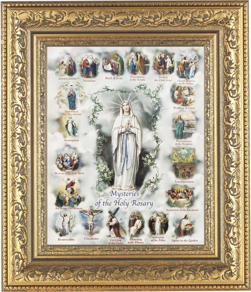 Mysteries of the Holy Rosary Illustrated Framed Print - #115 Frame