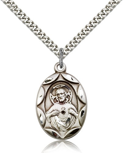 Etched Scalloped Edge Scapular Medal - Sterling Silver