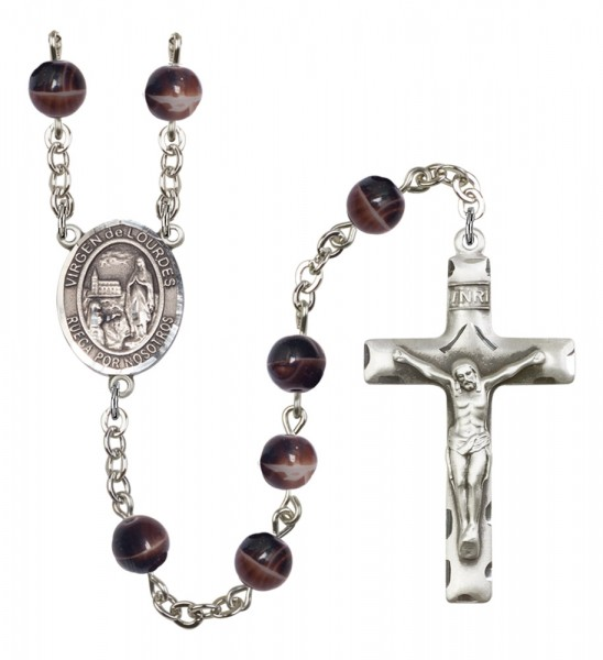 Men's Virgen del Lourdes Silver Plated Rosary - Brown