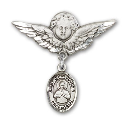 Pin Badge with St. John Vianney Charm and Angel with Larger Wings Badge Pin - Silver tone