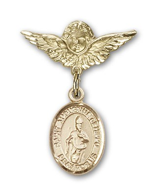 Pin Badge with St. Augustine of Hippo Charm and Angel with Smaller Wings Badge Pin - Gold Tone
