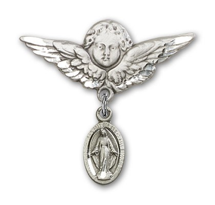 Pin Badge with Blue Miraculous Charm and Angel with Larger Wings Badge Pin - Silver tone