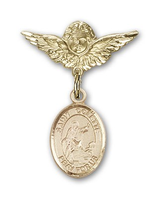 Pin Badge with St. Colette Charm and Angel with Smaller Wings Badge Pin - 14K Yellow Gold