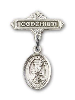 Pin Badge with St. Sarah Charm and Godchild Badge Pin - Silver tone