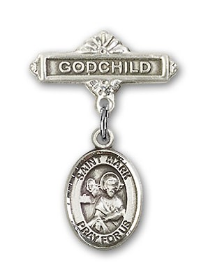 Pin Badge with St. Mark the Evangelist Charm and Godchild Badge Pin - Silver tone