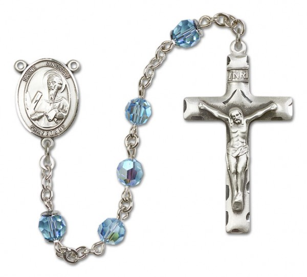 St. Andrew the Apostle Sterling Silver Heirloom Rosary Squared Crucifix - Aqua