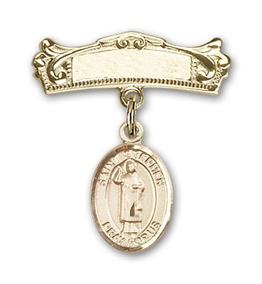 Pin Badge with St. Stephen the Martyr Charm and Arched Polished Engravable Badge Pin - Gold Tone