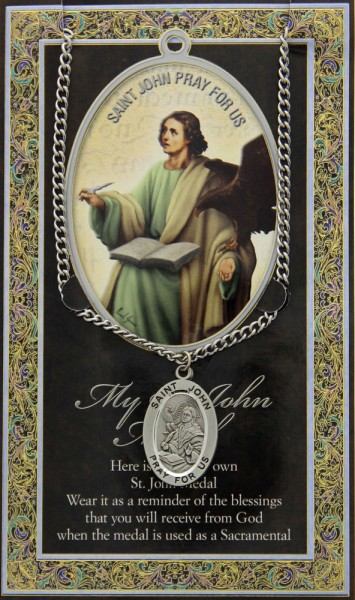 St. John the Evangelist Medal in Pewter with Bi-Fold Prayer Card - Silver tone