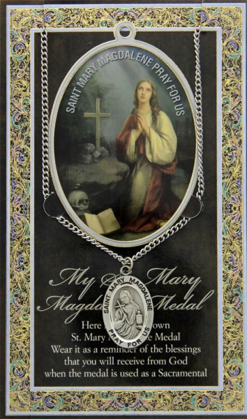 St. Mary Magdalene Medal in Pewter with Bi-Fold Prayer Card - Silver tone