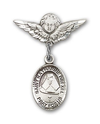 Pin Badge with St. Katherine Drexel Charm and Angel with Smaller Wings Badge Pin - Silver tone