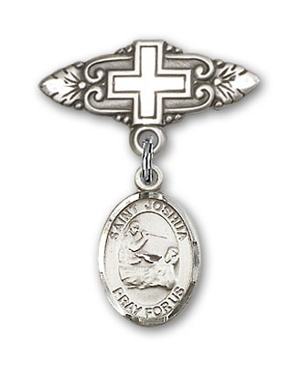Pin Badge with St. Joshua Charm and Badge Pin with Cross - Silver tone