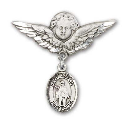 Pin Badge with St. Amelia Charm and Angel with Larger Wings Badge Pin - Silver tone