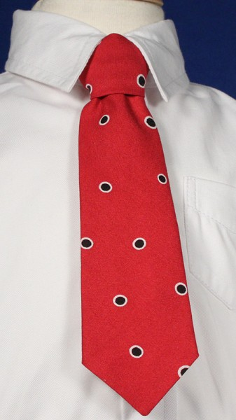 Boys Red Tie with Blue Dot Pattern - Red