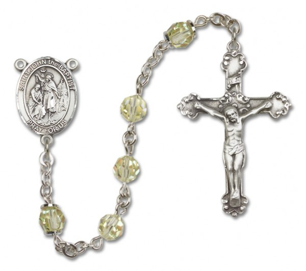 St. John the Baptist Sterling Silver Heirloom Rosary Fancy Crucifix - Jonquil