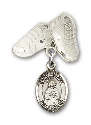 Pin Badge with St. Lillian Charm and Baby Boots Pin - Silver tone
