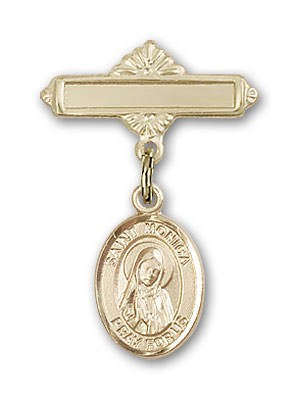 Pin Badge with St. Monica Charm and Polished Engravable Badge Pin - Gold Tone