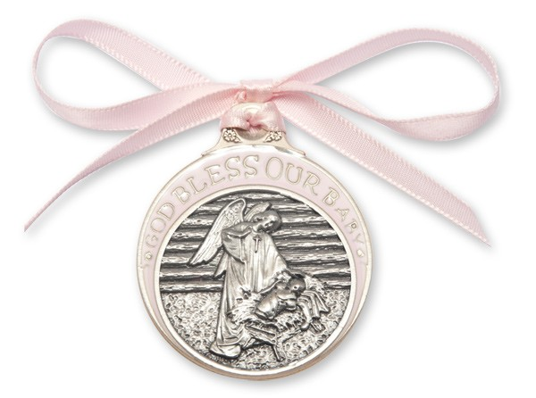 Girl's Pink Ribbon Angel in Manger Crib Medal in Pewter - Silver | Pink
