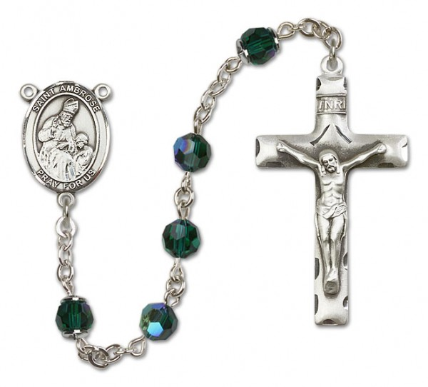 St. Ambrose Sterling Silver Heirloom Rosary Squared Crucifix - Emerald Green