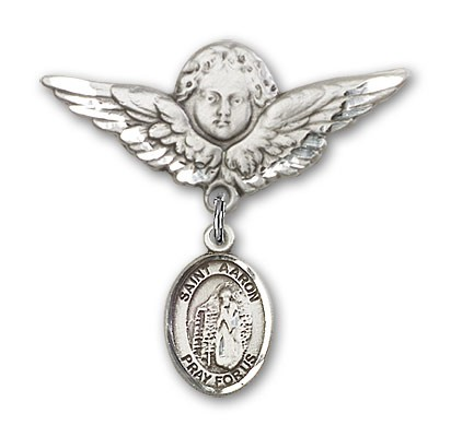 Pin Badge with St. Aaron Charm and Angel with Larger Wings Badge Pin - Silver tone