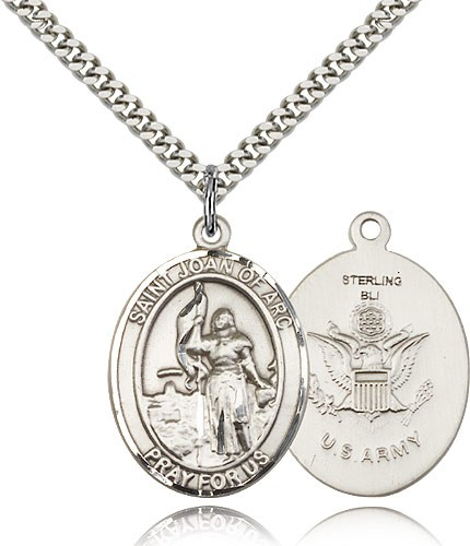 St. Joan of Arc Army Medal - Sterling Silver