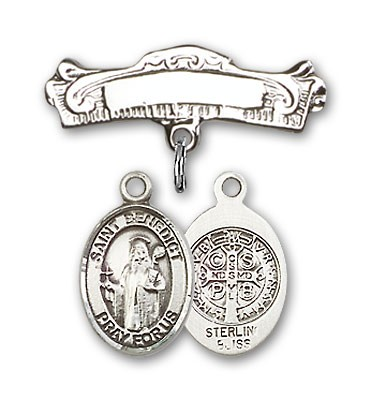 Pin Badge with St. Benedict Charm and Arched Polished Engravable Badge Pin - Silver tone