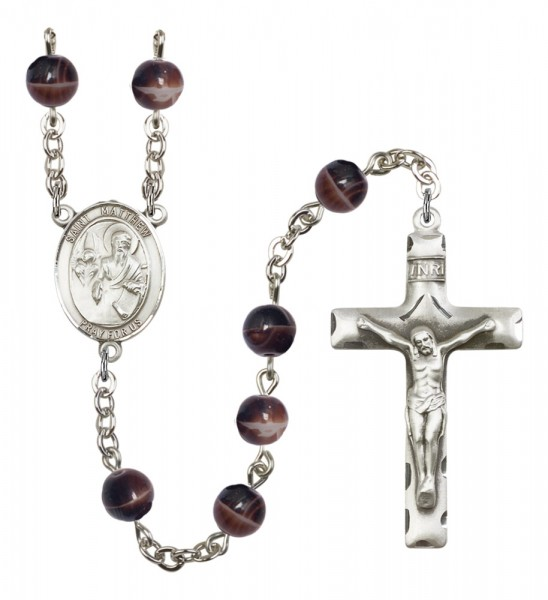 Men's St. Matthew the Apostle Silver Plated Rosary - Brown