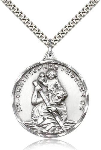 Men's Round Sterling Silver St. Christopher Necklace - Sterling Silver