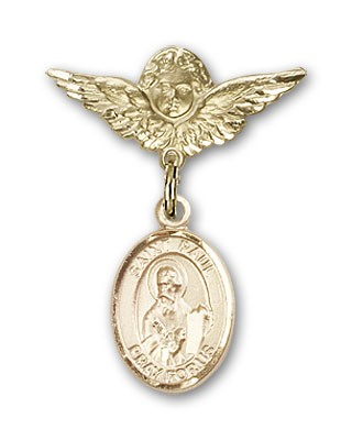 Pin Badge with St. Paul the Apostle Charm and Angel with Smaller Wings Badge Pin - 14K Yellow Gold
