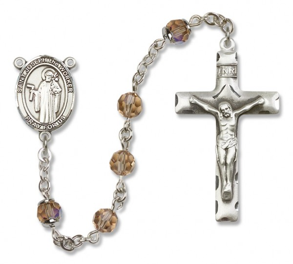 St. Joseph the Worker Sterling Silver Heirloom Rosary Squared Crucifix - Topaz