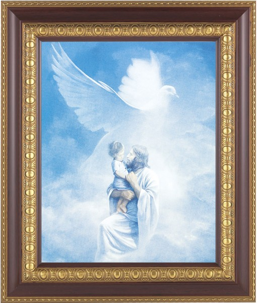 Jesus Holding Child In Heaven Framed Print - #126 Frame