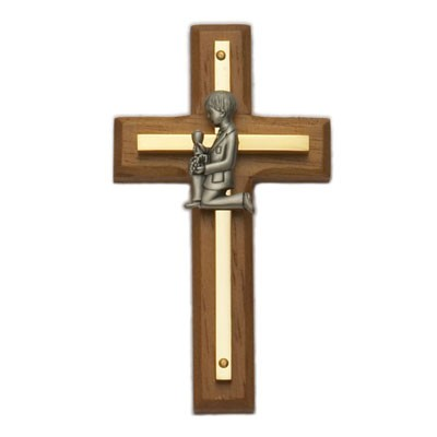 First Communion Boy's Wood and Brass Cross - 4.5 inches - Brown